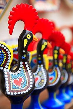 Portugal, Estremadura, Obidos, cockerel figures