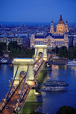 Chain Bridge, Gresham Palace, Basilica, Budapest, Hungary.