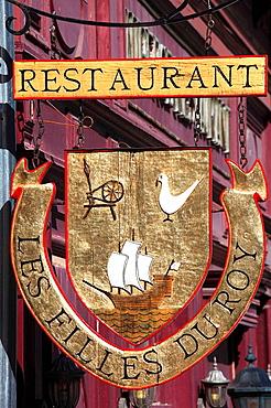 Canada, Quebec, Old Montreal, Les Filles du Roy restaurant sign