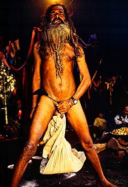 Sadhu holy man with very long rasta style dreadlock hair Exibition Pasupatinath Katmandhu Nepal