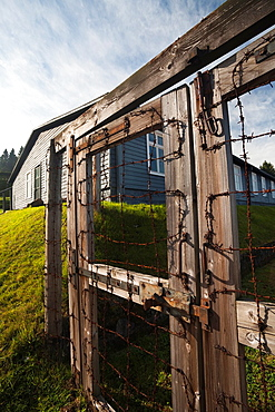 France, Bas-Rhin, Alsace Region, Natzwiller, Le Struthof former Nazi Concentration Camp, only Nazi-run camp on French territory in World War Two, barbed wire and barracks