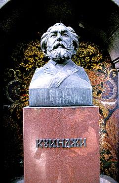 Grave and bust of Nikolay Rimsky-Korsakov at Alexander Nevsky Monastery cemetery, St, Petersburg, Russia