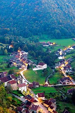 France, Jura Department, Franche-Comte Region, Les Reculees valley area, Baume-les-Messieurs, village overview, evening
