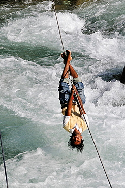 Attraction for the tourists to cross the river in Manali, Himachal Pradesh, India