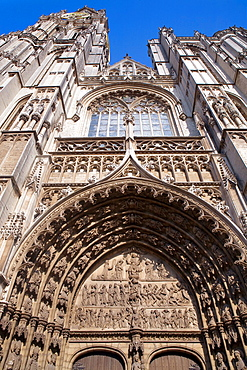 Ornate doorway of the Cathedral of Our Lady, built between XIV Century and XVI Century, in Antwerp Belgium