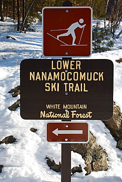 Lower Nanamocomuck Ski Trail near the Albany Covered Bridge in Albany, New Hampshire, USA just off the Kancamagus Highway This is the area of Blueberry Crossing along the old Swift River Logging Railroad, which was a logging railroad that operated from