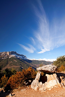 Dolmen of Tella and Castillo Mayor peak, National Park of Ordesa and Monte Perdido, Huesca, Spain