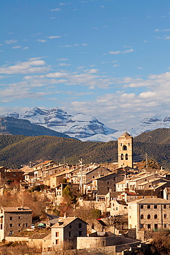 Village of Ainsa and Sorores peaks -Anisclo, Marbore and Monte Perdido-, Huesca, Spain