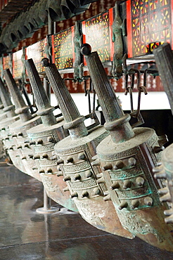 Wu Hou Shrine, Chengdu, Sichuan Province, China Set of ornate bronze hanging temple prayer bells chimes gongs