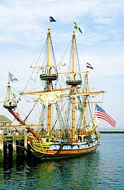 Cape Cod, New England Tallship old sailing ship name of Kalmar Nyckel in Provincetown Harbor, Massachusetts, USA