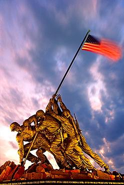 Iwo Jima monument in Arlington Cemetery, Virginia, USA Raising the flag on captured Japanese island of Iwo Jima World War II