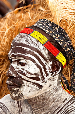 Portrait of a Karo man with facial paintings, Omo river valley, Southern Ethiopia