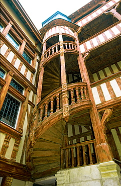 Medieval staircase, Troyes (Aube), Champagne, France