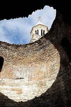 Croatia, Dalmatia, Split St Domnius cathedral belltower through vestibule roof of Diocletians Palace in old city