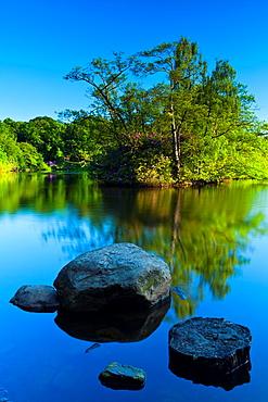 England, Northumberland, Bolam Lake Country Park Stepping stones at Bolam Lake Country Park in Northumberland