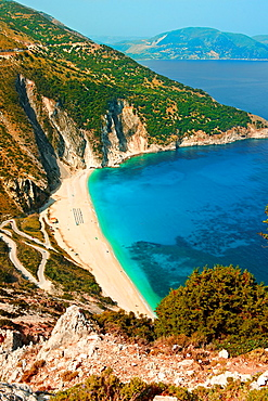 The famous Turquoise waters of Myrtos Beach aaa t, Kefalonia, Greek Ionian Islands