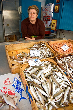 Freshly caught Fish on sale, Rethymnon Old Town, Crete, Greece