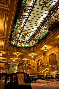 Brazil The beautiful stained glass windows at the Cristova Restaurant Top floor, Confeitaria Colombo, Rio de Janeiro