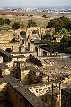 Perspective of the archaeological site of Madinat al-Zahra, where you can see their location with respect to the city of Cordoba Andalusia, Spain