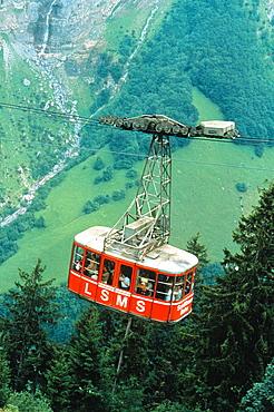 Schilthornbahn cable car in the Lauterbrunnental, Switzerland