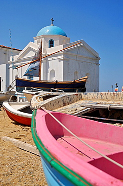 Church at the old harbour of Mykonos, part of the Cyclades in the Aegean See, Greece