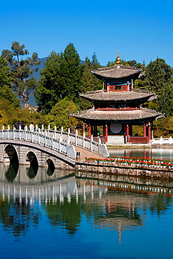 Pavilion and marble bridge inside the Black Dragon Pool in Lijiang, China
