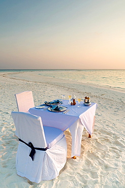 Dinner of a beach in the Maldives