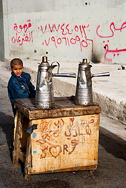 Cafe sellers on the roadsite near Jerash.Kingdom of Jordan.
