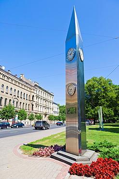 Clock donated by Rigas sister city Kobe, Kr Valdemara Iela, Kr Valdemars Street, Riga, Latvia.