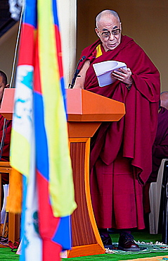 His holiness the Dalai Lama speaking about the situation of the Tibetan people in exile, in Namgyal Monastery, Tsuglagkhang complex McLeod Ganj, Dharamsala, Himachal Pradesh state, India, Asia