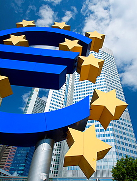 The Euro sign outside the European Central Bank ECB in Frankfurt am Main Hessen Germany
