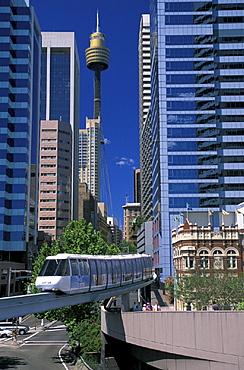 Australia, City, Monorail and AMP Tower, New South Wales, Sydney, modern, skyline. Australia, City, Monorail and AMP Tower, New South Wales, Sydney, modern, skyline