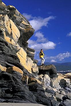 Canada, North America, America, cliffs, coast, hiking, Lobster Cove, Gros Morne, national park, model released, natu. Canada, North America, America, cliffs, coast, hiking, Lobster Cove, Gros Morne, national park, model released, natu