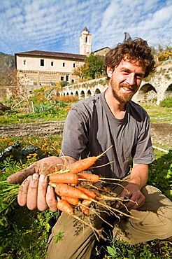 Tom Fleurentin, proud gardener, Franciscan monastery, historic monument accommodating writers for writing retreats and also open to the public, Village of Saorge, perched on a mountain slope, Roya Bevera Valley, Alpes Maritimes (06), Provence, France