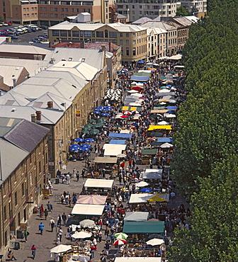 Hobart city, town, city, river, Saturday Market, Salamanca Place, overview, market, person, Tasmania, Australia. Hobart city, town, city, river, Saturday Market, Salamanca Place, overview, market, person, Tasmania, Australia