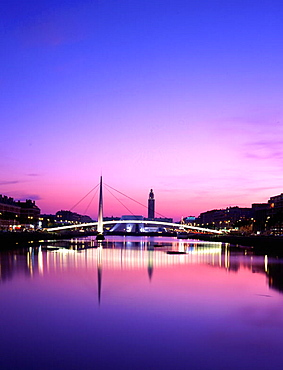 Le Havre, basin du commerce, skywalk, bridge, architecture, modern, dusk, twilight, town, city, Normandy, France, Euro. Le Havre, basin du commerce, skywalk, bridge, architecture, modern, dusk, twilight, town, city, Normandy, France, Euro