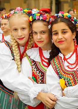 girls, in, Krakow, national, costume, Cracow, Poland, EU, Europe, Eastern, European, travel, holiday, vacation, Polish. girls, in, Krakow, national, costume, Cracow, Poland, EU, Europe, Eastern, European, travel, holiday, vacation, Polish