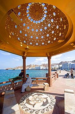 Oman, Arabia, East, Corniche, pavilion, town, city, person, dome, coast, sea, bank promenade, promenade, Muttrah, cour. Oman, Arabia, East, Corniche, pavilion, town, city, person, dome, coast, sea, bank promenade, promenade, Muttrah, cour