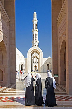 Oman, Arabia, East, Maskat town, city, Muscat, sultan Qaboos mosque, architecture, Islam, religion, person. Oman, Arabia, East, Maskat town, city, Muscat, sultan Qaboos mosque, architecture, Islam, religion, person