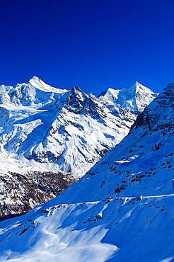 Switzerland, Europe, Zinalrothorn, Beso, Trifthorn, Ober Gabelhorn, Valais Alps, mountains, view, Sorebois, Val de Zin. Switzerland, Europe, Zinalrothorn, Beso, Trifthorn, Ober Gabelhorn, Valais Alps, mountains, view, Sorebois, Val de Zin