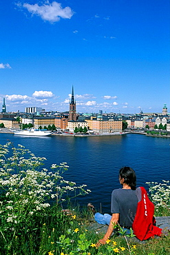 Sweden, Europe, Riddarholmen, Stockholm, Capitol, City, Europe, woman, girl, overview, travel, Scandinavia, town, city. Sweden, Europe, Riddarholmen, Stockholm, Capitol, City, Europe, woman, girl, overview, travel, Scandinavia, town, city