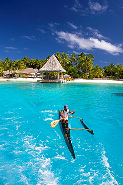 Tahiti, Society Islands, Bora Bora Island, Matira, Canoe. Tahiti, Society Islands, Bora Bora Island, Matira, Canoe