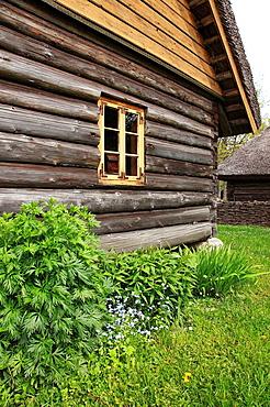 facade of traditional wooden farmhouse in Estonia, Baltic States, Northeast Europe