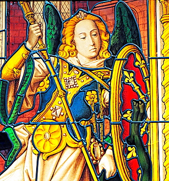 Glass painting with St. Michael, 1500s, Church of Our Lady, Bruges, Belgium. Glass painting with St. Michael, 1500s, Church of Our Lady, Bruges, Belgium