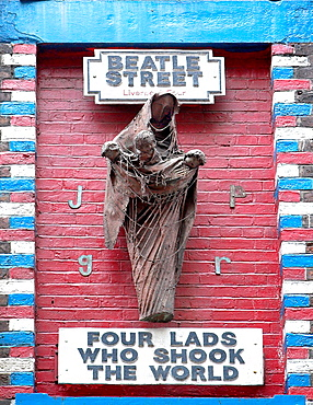 Statue commemorating the Beatles near the Cavern Club Liverpool England