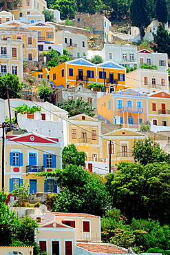 Housing at Yalos harbour, Symi, Dodecanese, Greece