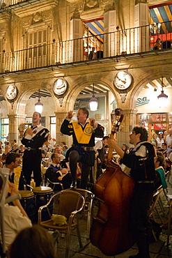 The Salamanca University Tuna acting at Plaza Mayor, Main Square, Salamanca, Castilla y Leon, Spain
