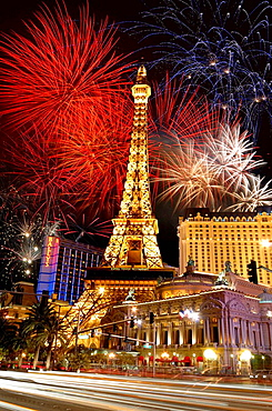 paris hotel montgolfier balloon at night las vegas day nevada usa america with firework display