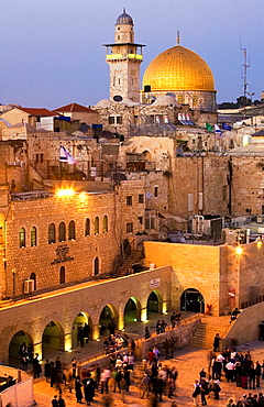 Dome of the Rock, Western Wall, Wailing Wall, Jerusalem, Israel, Middle East.