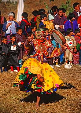 Bhutan, Trongsa, festival, masked dancer, buddhist, religious, ritual, people, tshechu, travel, Asia, vertical,